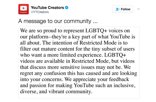 YouTube Apologizes After Parental-Control Feature Blocks LGBT Content