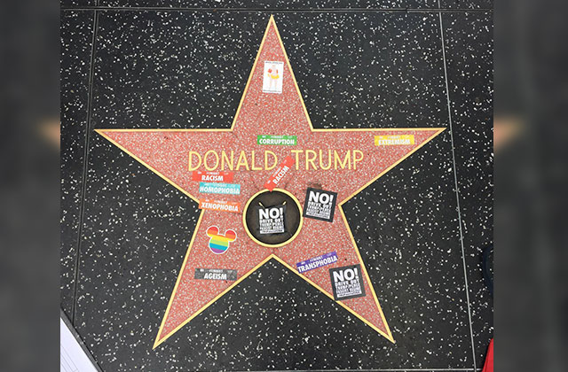 News Briefs: Trump's Hollywood Walk of Fame Defaced Over Weekend at Gay Pride #ResistMarch & More!