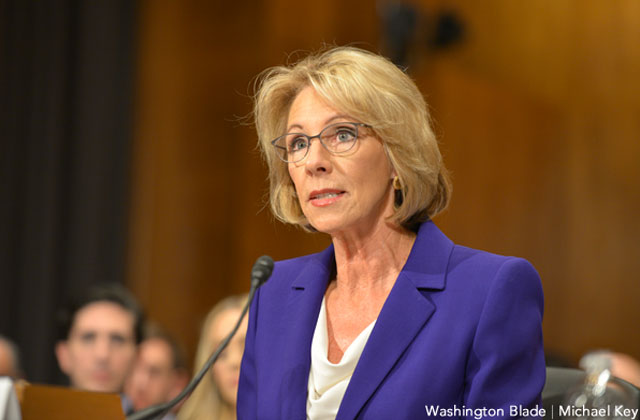 DeVos Hedges on Banning Discrimination Against LGBT Students