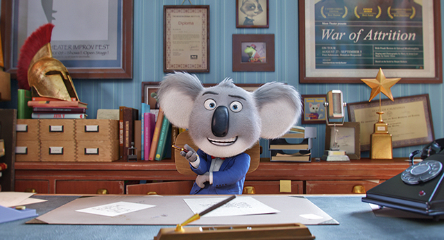 "Theater owner Buster Moon (McConaughey) hosts a talent competition to save his theater in ""Sing"" by Illumination Entertainment"