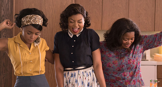 Mary Jackson (Janelle Monáe, left), Katherine Johnson (Taraji P. Henson) and Dorothy Vaughan (Octavia Spencer) celebrate their stunning achievements in one of the greatest operations in history.