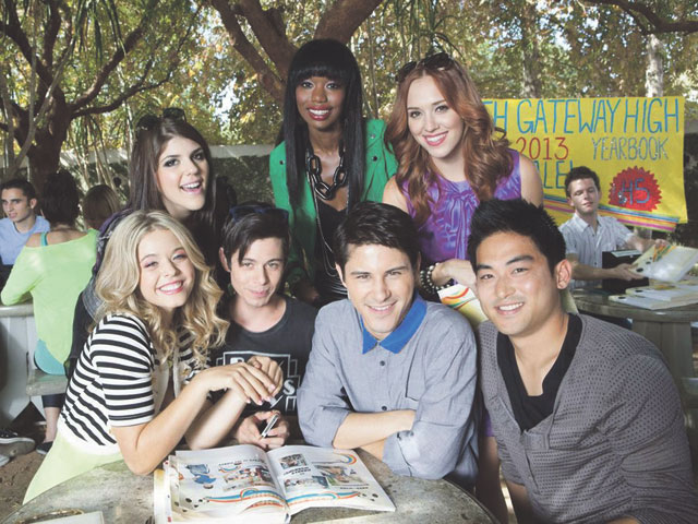 Back Row: (L-R) Molly Tarlov, Xosha Roqemore, and Andrea Bowen. Front Row: (L-R) Sasha Pieterse, Paul Iacono, Michael J. Willett, and Derek Mio star in the sassy high school comedy G.B.F. Photo courtesy of Kate Romero