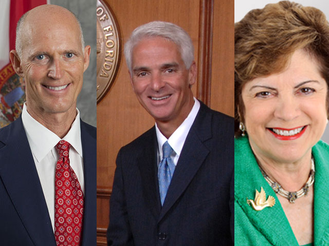 Republican Gov. Rick Scott and Democrats Charlie Crist and Nan Rich