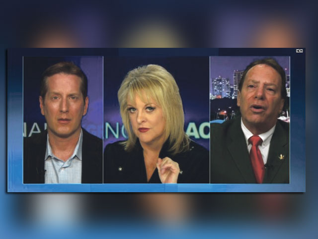 Nancy Grace (center) interviews NORML president Norm Kent (r) and Brad Lamm of Breathe Life Healing Center (l)