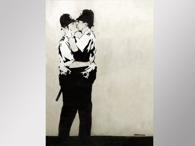 Street Art of Two Male Police Officers Kissing Sells for $575,000