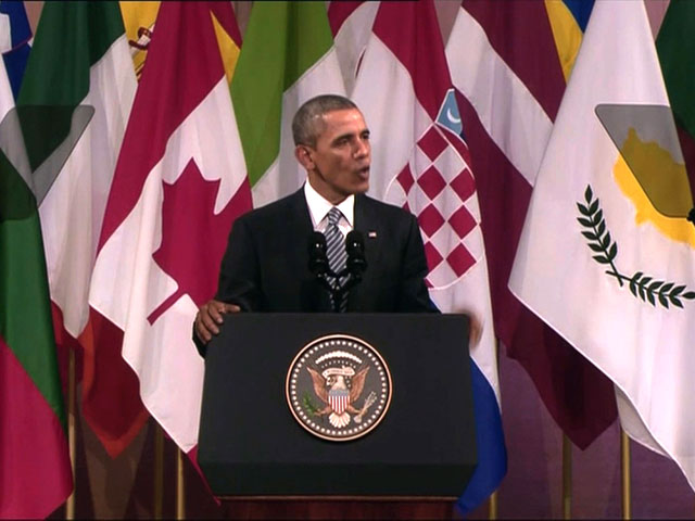 President Barack Obama gives an address on Wednesday, March 26, 2014 at Palais Des Beaux-Arts in Brussels, Belgium. He made comments on gay rights during the speech. (Host TV)
