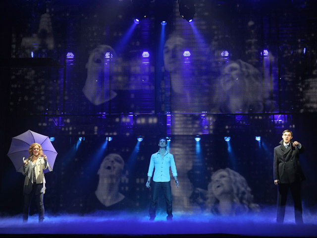 "Katie Postotnik, Steven Grant Douglas and Robby Haltiwanger star in the stage adaptation of the Academy Award-winning film, ""Ghost The Musical,"" currently playing at the Broward Center.  Credit: Joan Marcus"