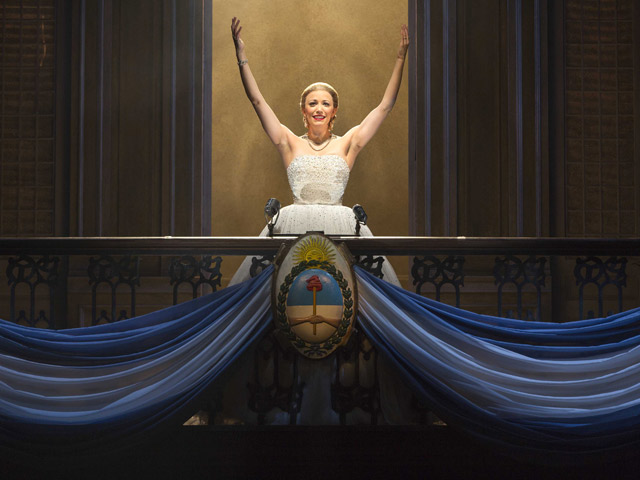 "Caroline Bowman stars as Eva Peron in the traveling production of ""Evita,"" which recently closed at the Kravis Center and comes to Miami's Arsht Center in May. Credit: Richard Termine"