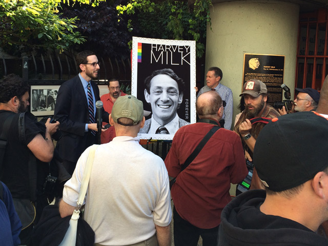Harvey Milk stamp blow-up at Harvey Milk Plaza in San Francisco. Photo: Patrick Henry.