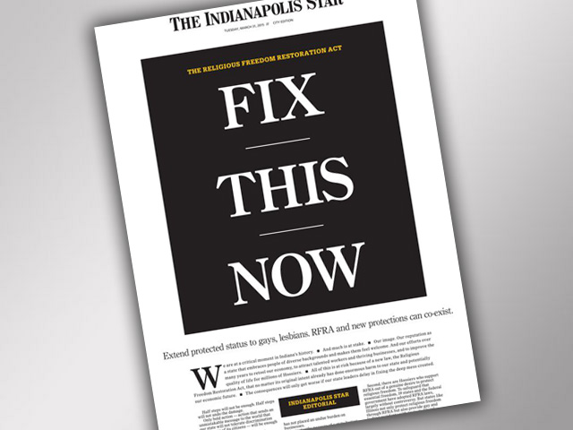 Indianapolis Star Calls for Law Protecting Gays, Lesbians