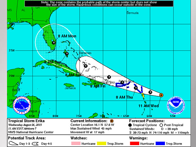 National Hurricane Center: Tropical Storm Erika Still Seems Headed for South Florida