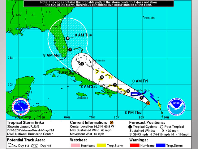 National Hurricane Center: Tropical Storm Erika Threat Eases in Latest Update