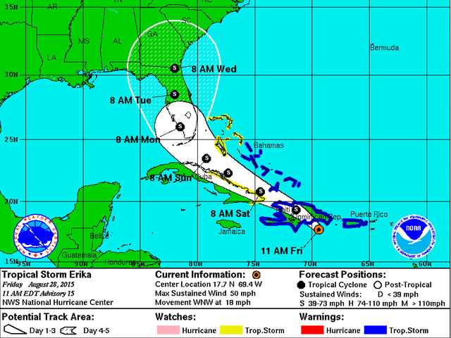 National Hurricane Center: Erika's Threat to South Florida Downgraded