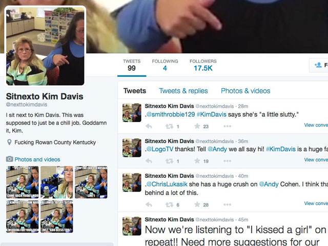 Hilarious Mock Twitter Feed Created for Woman Who Sits Next to Kim Davis
