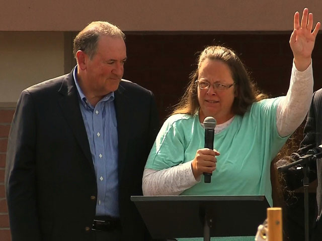 "Huckabee Sued for Using ""Eye of the Tiger"" at Kim Davis Rally"