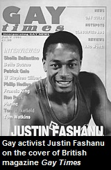 Justin Fashanu on the cover of British magazine Gay Times