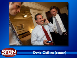 Cicilline is pictured at center with campaign manager Eric Hyers and Victory Fund CEO Chuck Wolfe.