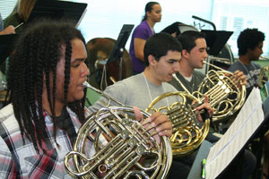 Members of the Youth Pride Band rehearse for this weekend's concert. Photo courtesy of South Florida Pride Wind Ensemble